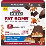 SlimFast Keto Meal Replacement Bar- Pantry Friendly, Nutty Caramel & Nougat, 5 Count