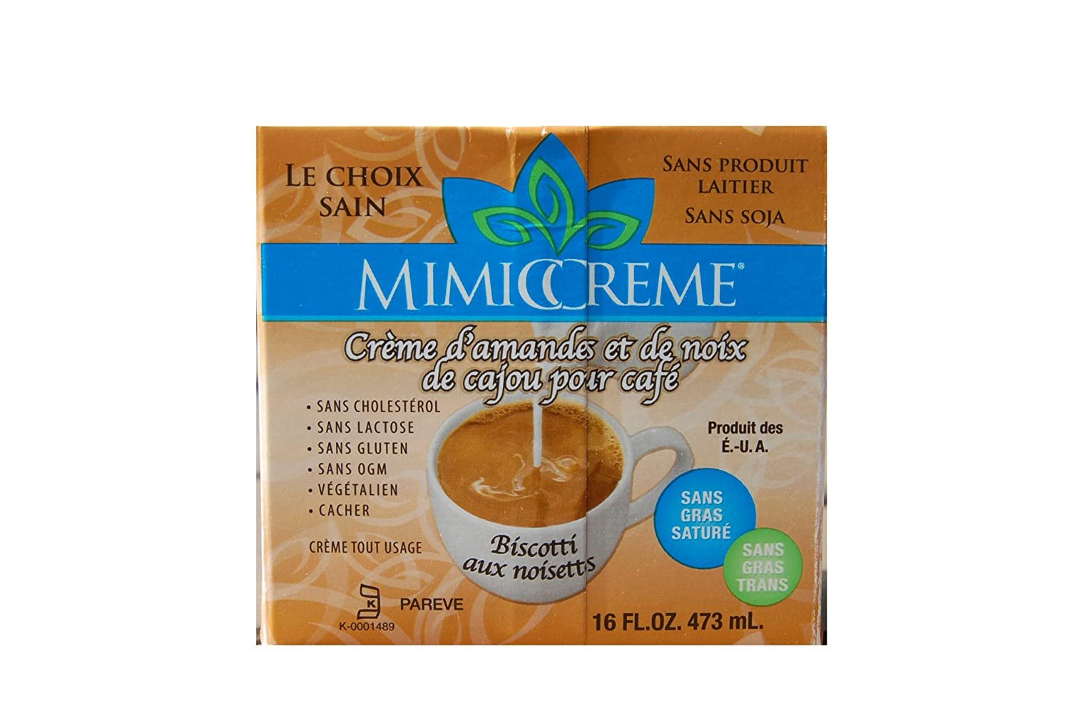 MimicCreme Almond & Cashew Cream for Coffee - Hazelnut Biscotti, 16 Ounce Boxes (Pack of 6)
