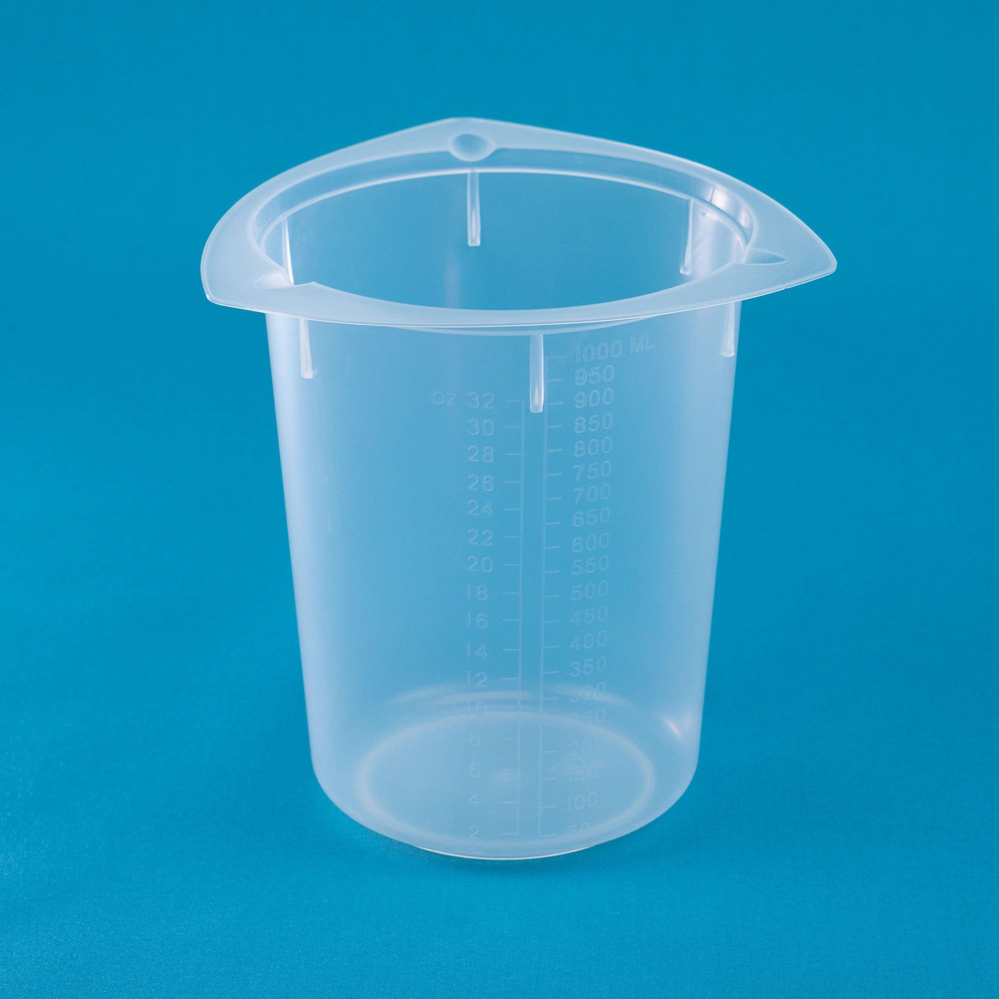 United Scientific BTC1000 Polypropylene Tri-Corner Beaker, 1000ml Capacity, 50ml Graduation Interval (Case of 100)