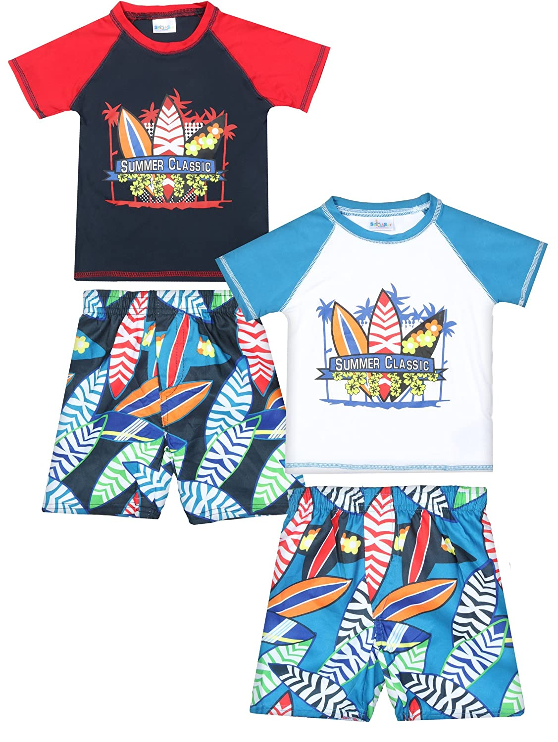 Sweet & Soft Baby Boys 4-Piece Rash Guard and Trunk Swimsuit Set (Infant/Toddler)