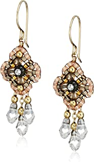 product image for Miguel Ases Pink Clover Swarovski 14k Gold Filled Dangle Earrings