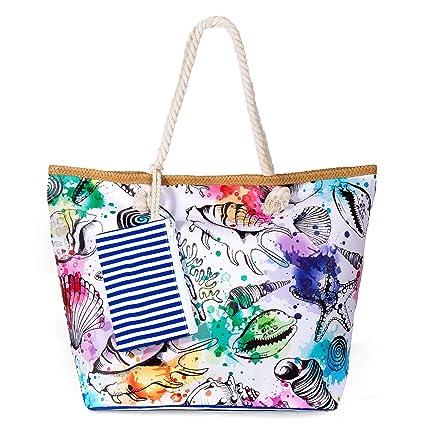 zedela Bolsa de playa grande con cremallera, Bolso de Mano de Lona Mujer, Shopper Bolsa (Concha)
