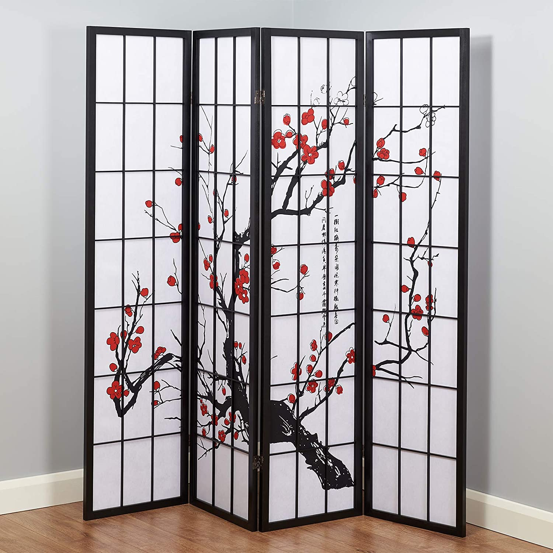 Hartleys 4 Panel Cherry Blossom Room Divider - Choice of Colour Black