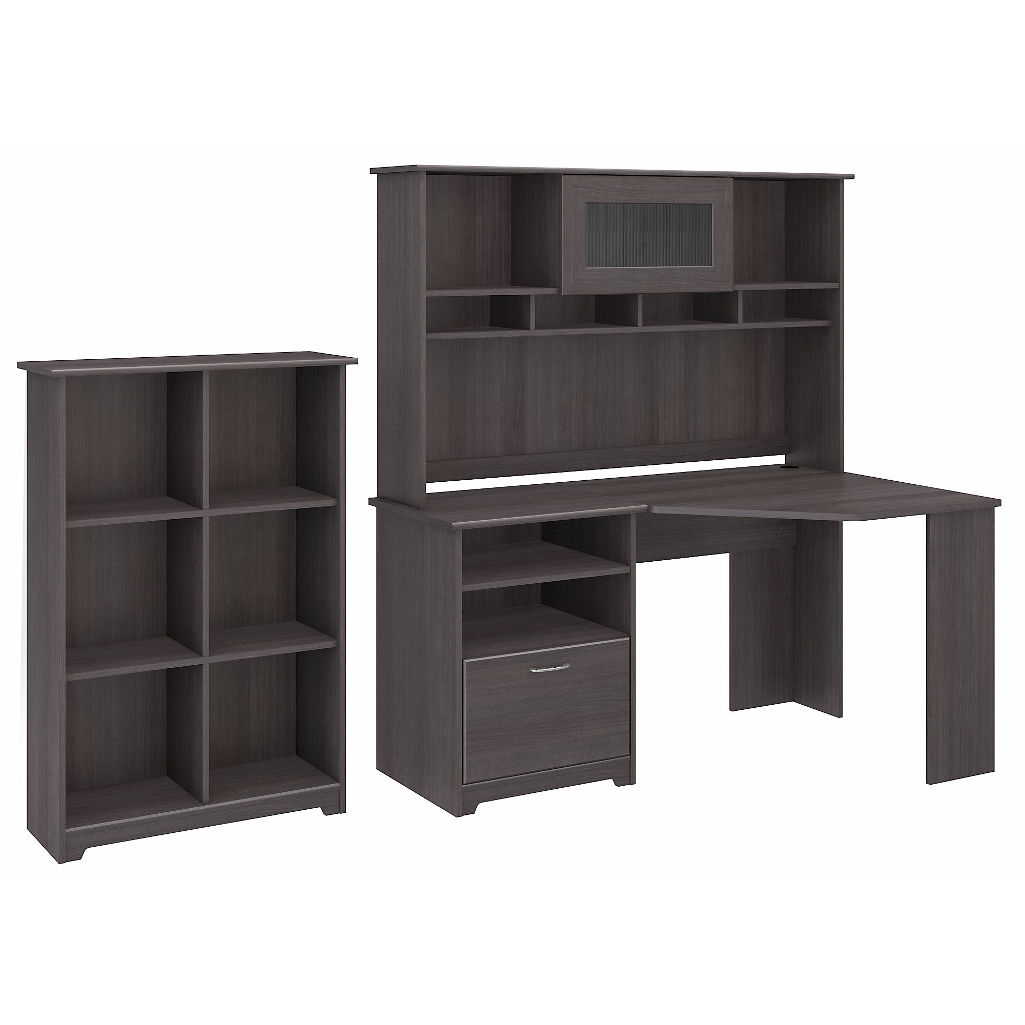 Bush Furniture Cabot Corner Desk with Hutch and 6 Cube Organizer in Heather Gray