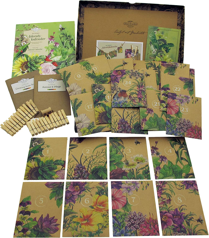 Mediterrane Gemüse Bio-Saatgut-Adventskalender 2018 Kräuter /& essbare Blüten Magic Garden Seeds