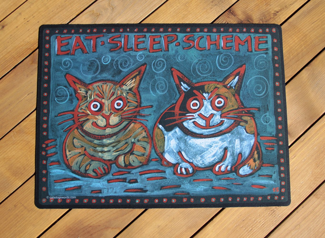 CAT DISH BOWL FOOD MAT. ''EAT SLEEP SCHEME'' Durable. Washable. Cute! Made in USA.
