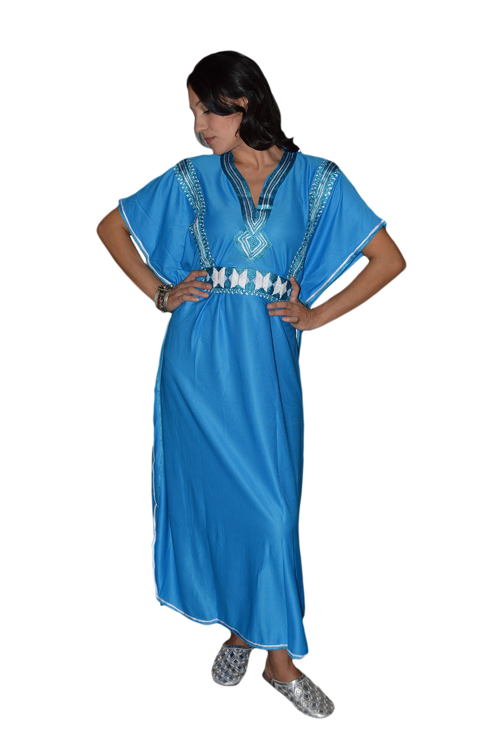 Moroccan Caftans Women Breathable Handmade Butterfly Style Embroidery Ethnic Design Blue