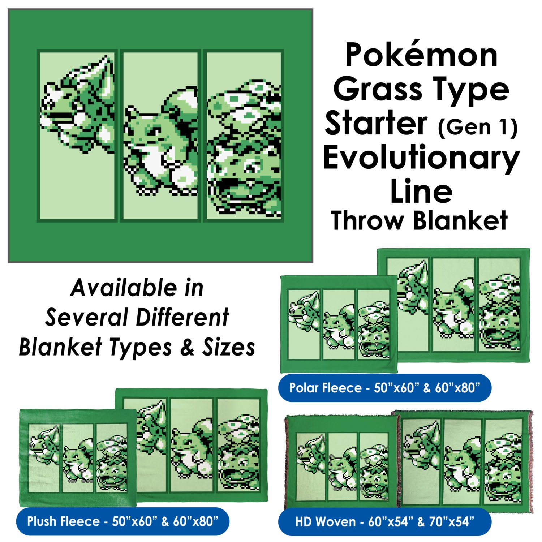 Pokemon Grass Type Starter (Gen 1) Evolutionary Line - Throw Blanket / Tapestry Wall Hanging (Plush Fleece, 50''x60'')