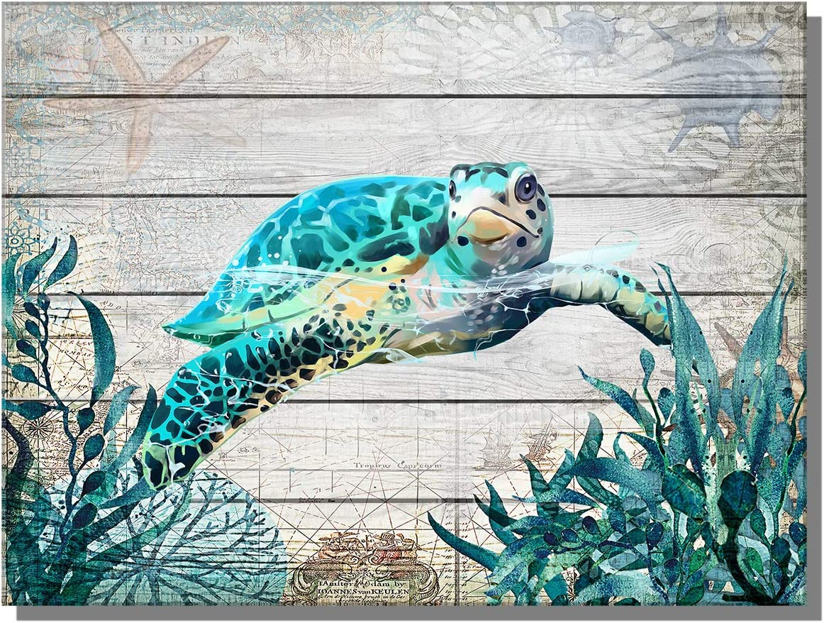 "ARTZWPENG Sea Turtle Bathroom Decor Ocean Canvas Pictures Beach Theme Wall Art Coastal Artwork for Kid Girls Room Living Room Bedroom Home Office Sea Life Wall Decorations(16""x12""Framed)"