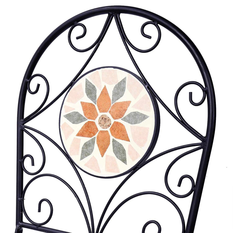 Alpine Corporation 3-Piece Mosaic Bistro Set – Outdoor Conversation Set for Patio, Yard, Garden – Tan