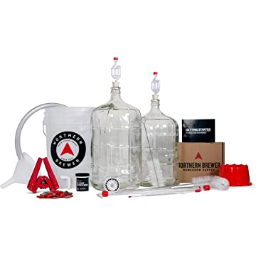 top selling Northern Brewer - Deluxe Home Brewing Equipment Starter Kit - Glass Carboys - with 5 Gallon Chinook IPA Beer Recipe Kit