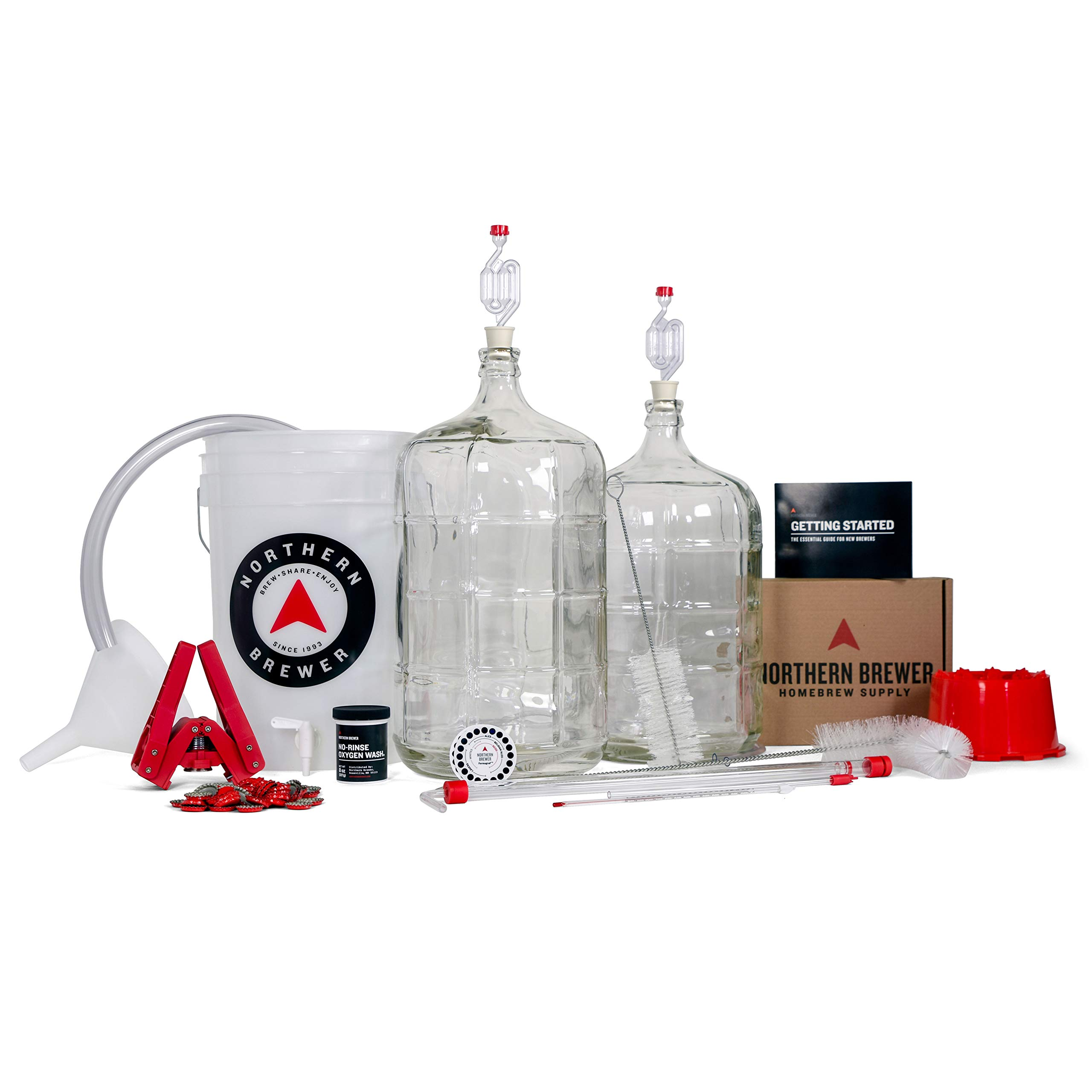Northern Brewer Deluxe Homebrew Starter Kit & Beer Brewing Recipe Kit - Glass Carboys Fermenter With Equipment For Making 5 Gallons Of Homemade Beer (Bavarian Hefeweizen) by Northern Brewer (Image #1)