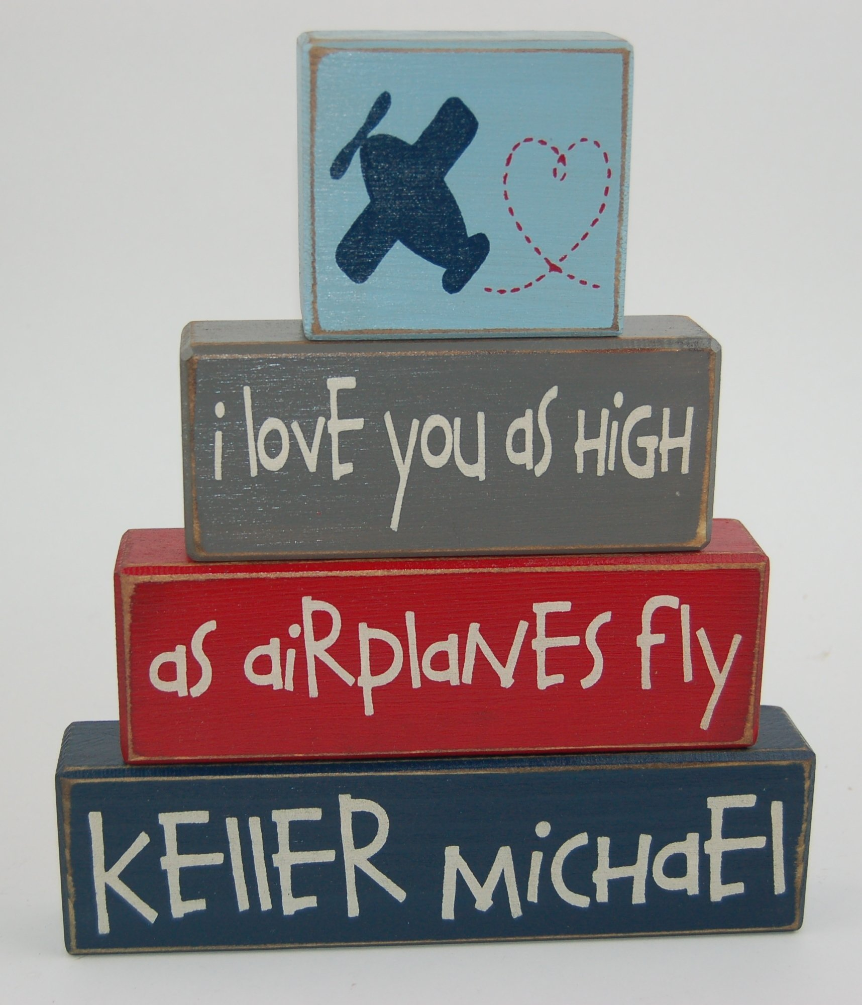 Personalized Name - I love you as high as airplanes fly - Primitive Country Wood Stacking Sign Blocks Airplane Theme Decor-Airplane Nursery Room-Airplane Baby Shower-Airplane Birthday Home Decor