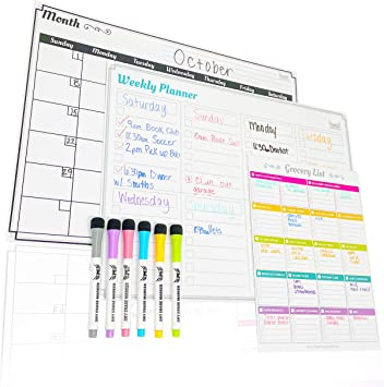 Fangie Magnetic Calendar,Magnetic Dry Erase Monthly Weekly Planner Board For Refrigerator White Board Planner Stain Resistant Technology For Family Home Office Fridge Use