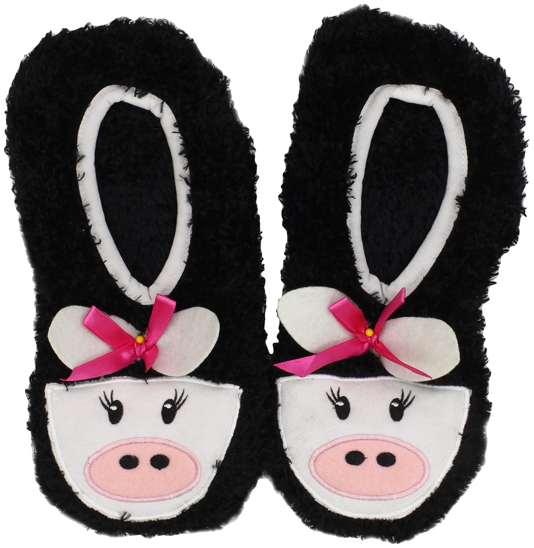 Novelty Slippers-Black Cow (並行輸入品)   B008AUYPUS