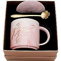 Luspan Best Mom Ever Pink Marble Ceramic Coffee Cup