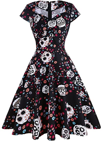 f961465a1a5 OWIN Women s Floral Sugar Skull Cap Sleeve Sewing Casual Retro Party  Rockabilly Dress