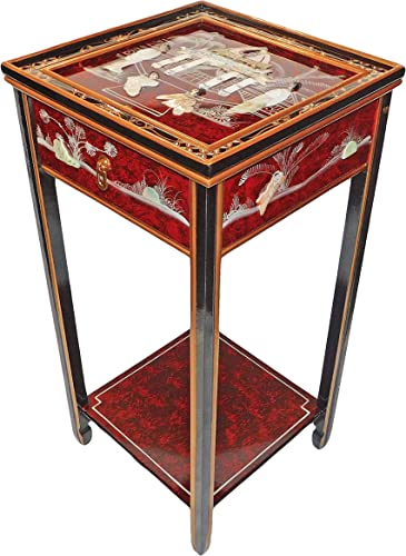 Red Oriental Stand with Drawer, Shelf and Glass Top
