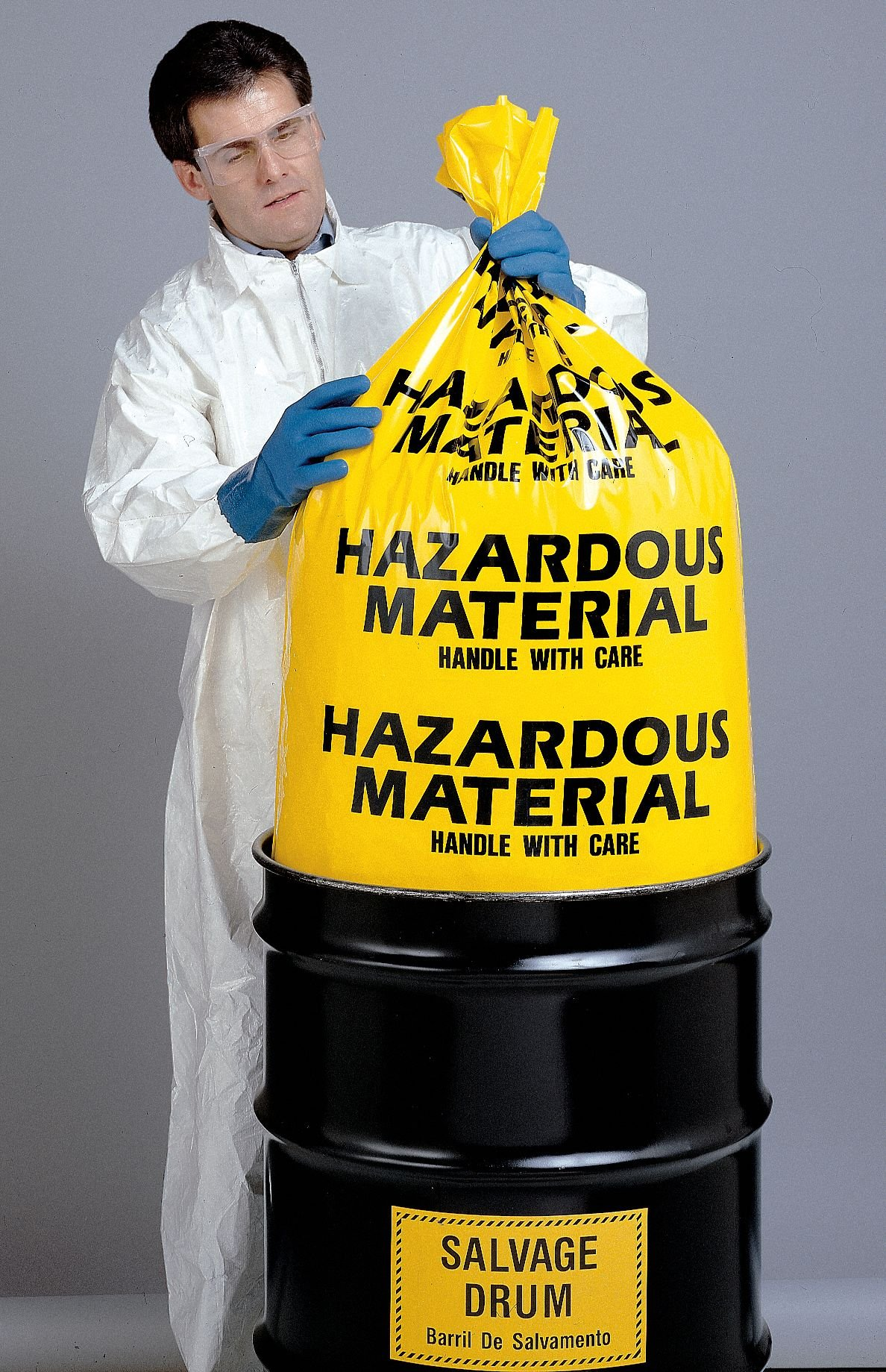 7 to 10 gal. Yellow Hazardous Waste Bags, Contractor Strength Rating, Flat Pack, 24 PK