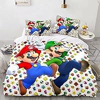 THTSSRC Super Mario Bros Juego de ropa de cama infantil, funda nórdica con diseño de juego, adecuado para niños y…