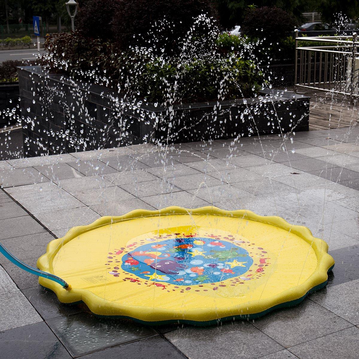 HALOFUN 67in-Diameter Sprinkle and Splash Play Mat for Kids (Yellow)
