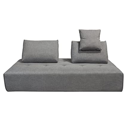 Diamond Furniture CLOUDLGBGR Cloud Lounge Seating Platform With Moveable  Backrest Supports In Space Grey Fabric