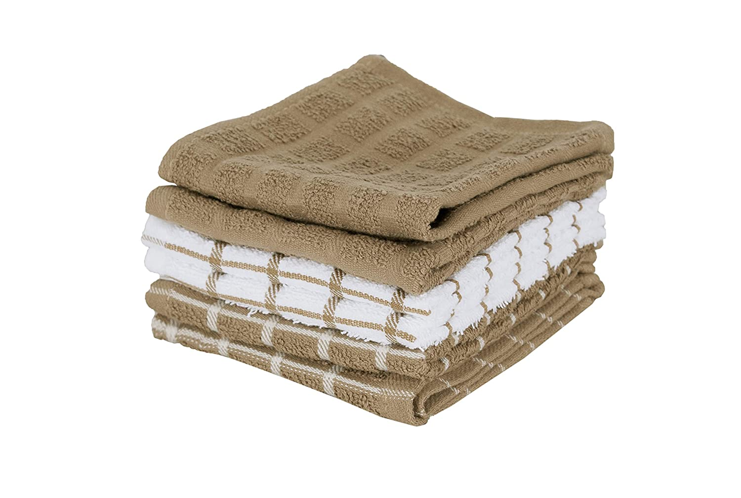 "Ritz 100% Terry Cotton, Highly Absorbent Dish Cloth Set, 12"" x 12"", 6-Pack, Mocha Brown"