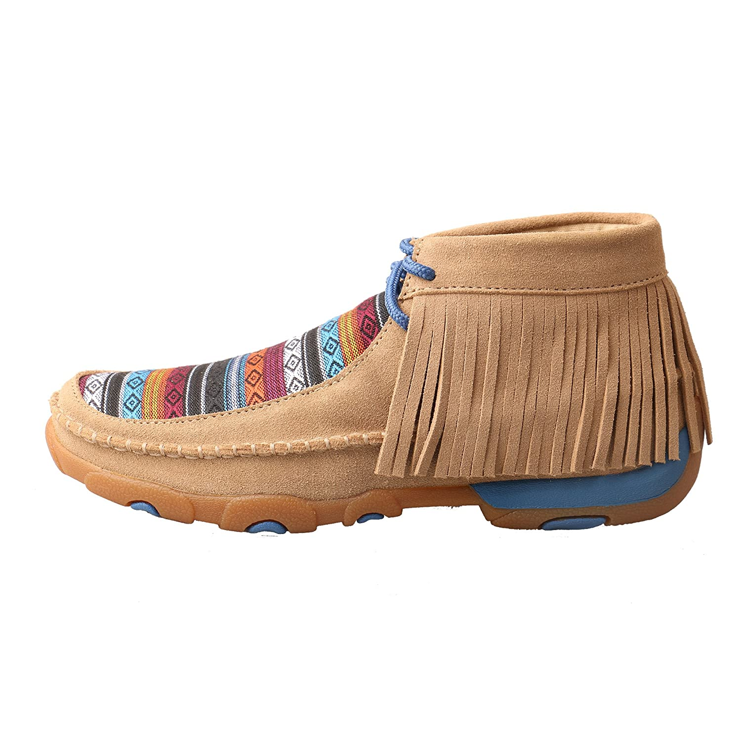 Twisted X Sole Women's Leather Lace-up Rubber Sole X Driving Moccasins - Serape/Fringe B072KL544R 10 B(M) US|Serape/Fringe ce117a