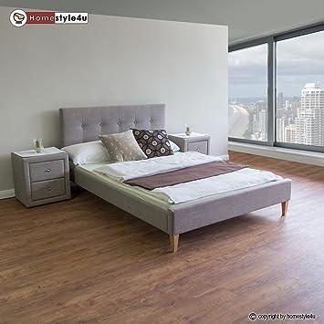 Homestyle4u 1733 polsterbett 160 x 200 doppelbett stoffbett bettgestell mit rückenlehne lattenrost bett grau