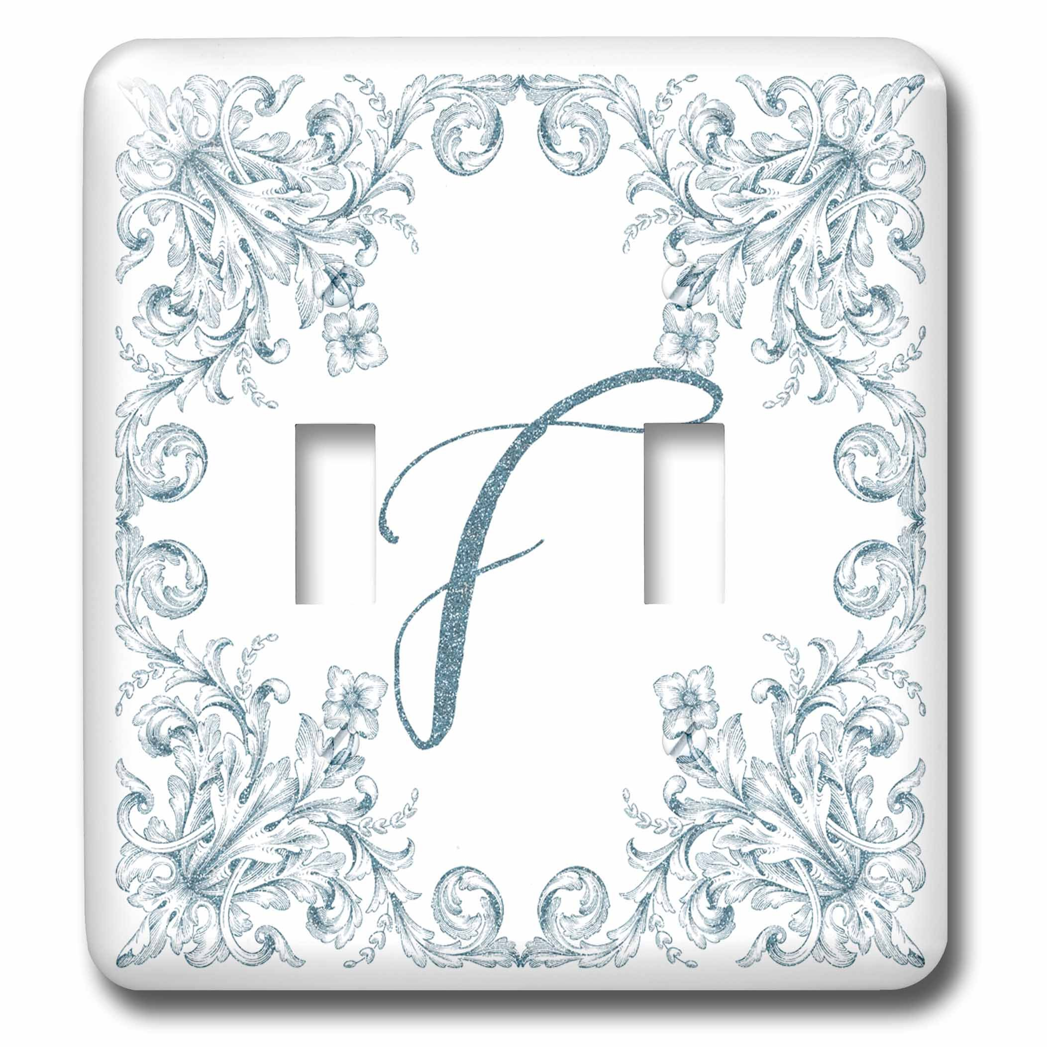 3dRose Uta Naumann Personal Monogram Initials - Letter F Personal Luxury Vintage Glitter Monogram-Personalized Initial - Light Switch Covers - double toggle switch (lsp_275305_2) by 3dRose (Image #1)