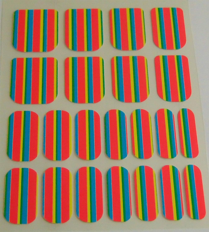 Chix Nails Nail Wraps Neon Pink Rainbow Stripe Zingy Fingers Toes Vinyl Foils Minx Trendy Style Salon pa6