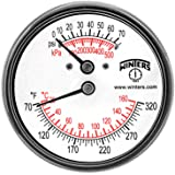 """Winters TTD Series Steel Dual Scale Tridicator Thermometer with 2"""" Stem, 0-75psi/kpa, 2-1/2"""" Dial Display, ±3-2-3% Accuracy, 1/4"""" NPT Back Mount, 70-320 Deg F/C"""