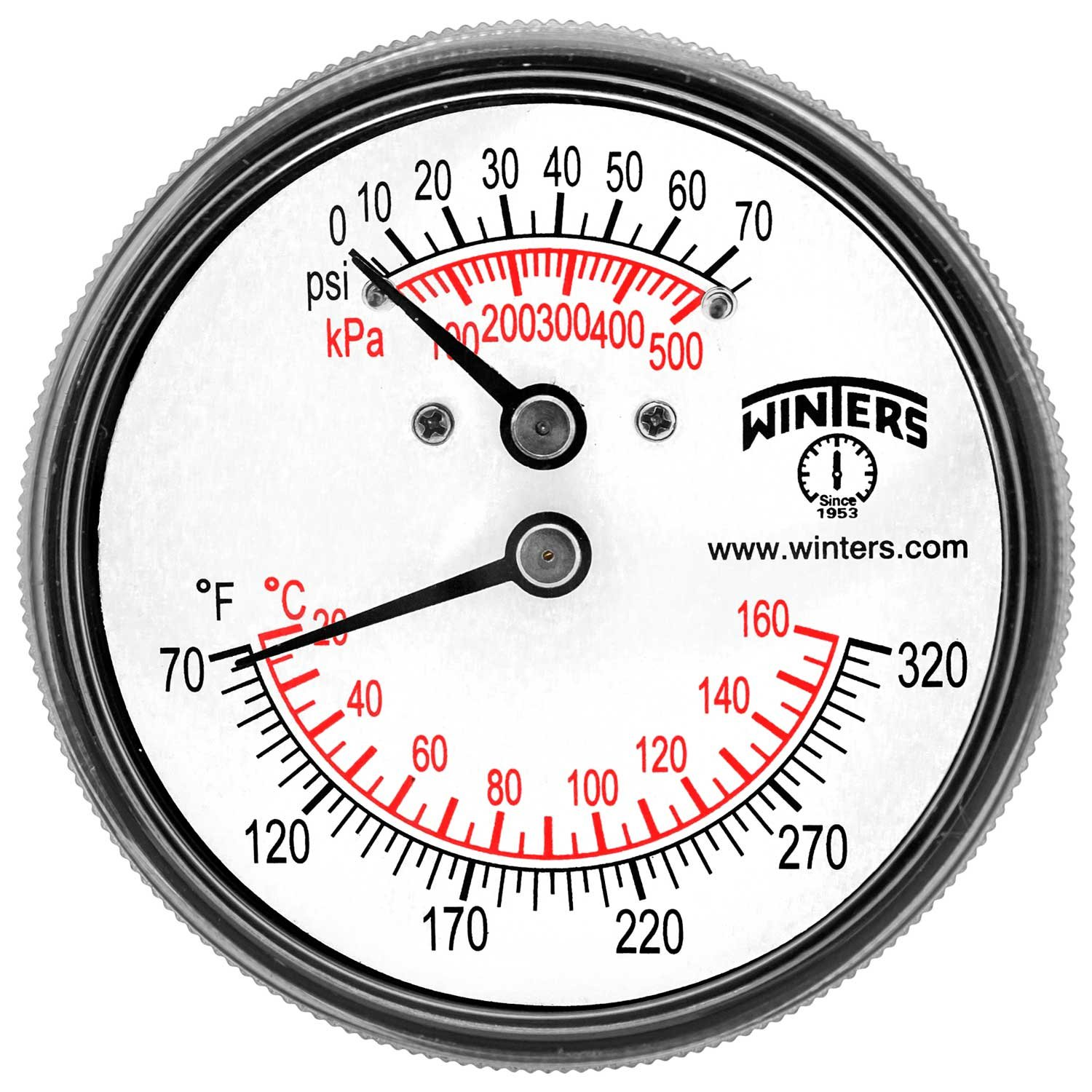 Winters TTD Series Steel Dual Scale Tridicator Thermometer with 2'' Stem, 0-75psi/kpa, 2-1/2'' Dial Display, ±3-2-3% Accuracy, 1/4'' NPT Back Mount, 70-320 Deg F/C by Winters Instruments