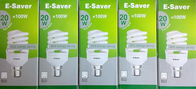 Conjunto de 3/5/6/10 bombillas de bajo consumo, 20 W = 100 W, luz blanca frí a, diseñ o de espiral, casquillo BC B22d, Cool White, E27 20.00 wattsW 240.00 voltsV E-Saver