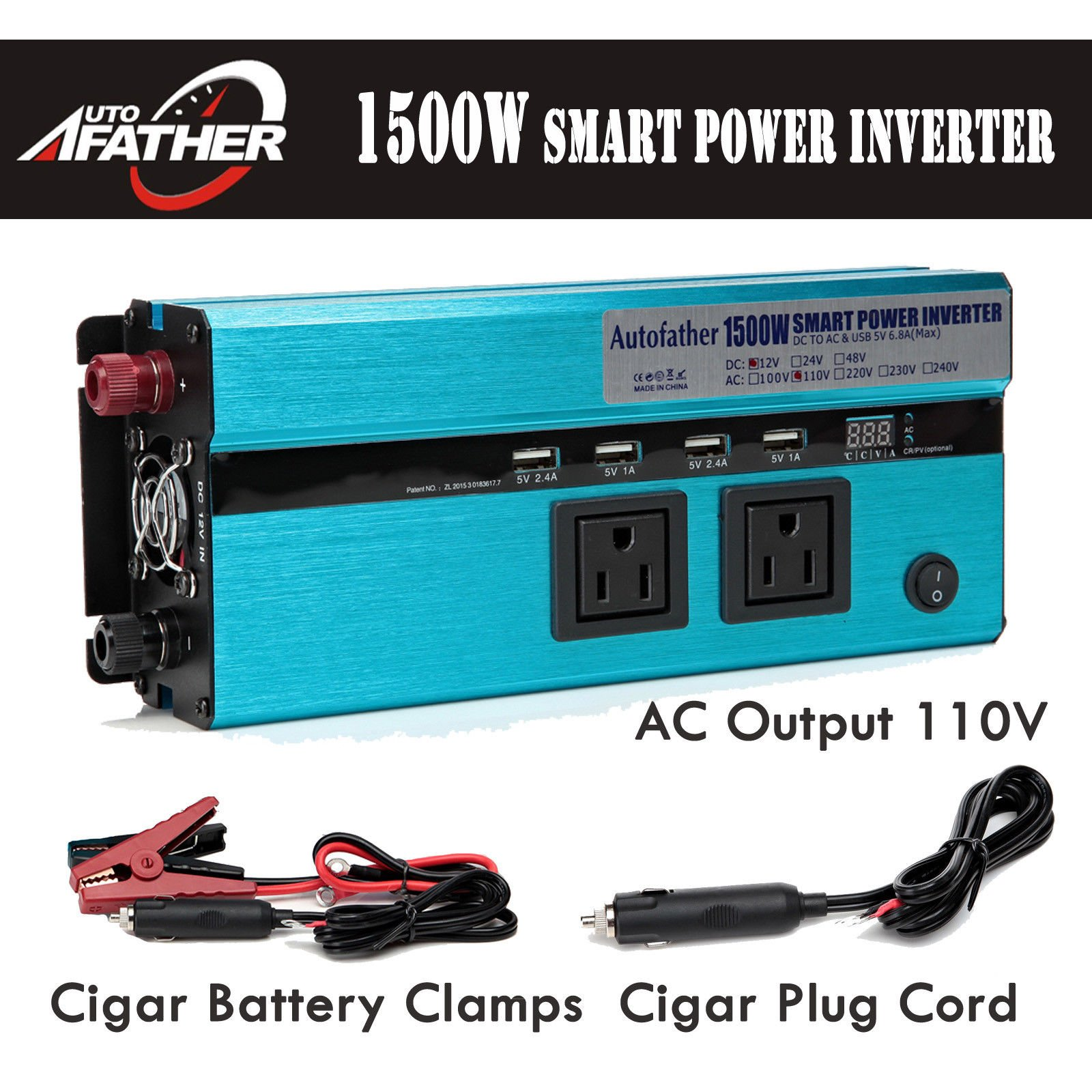 2018 Newest Design Car Power Inverter 1500W DC 12V to AC 110V Outlets & USB Ports Digital Display with Battery Clamps Cigarette Plug Cord - 2 Year Warranty
