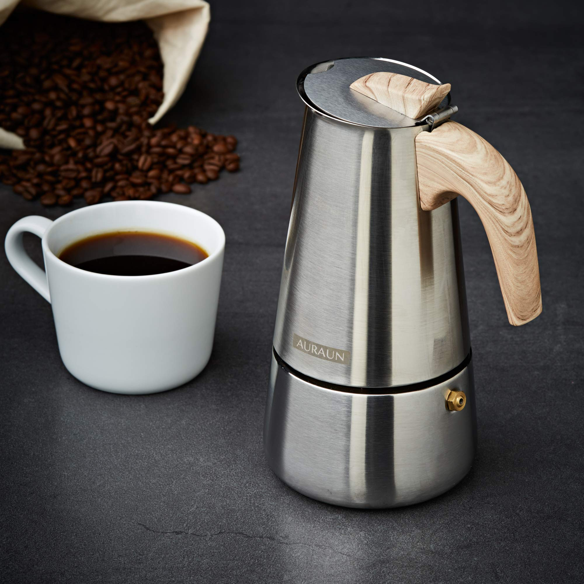 Stainless Steel Stovetop Espresso Maker 6-Cup, Wooden soft cool touch handle, Matt Finish, Classic & Contemporary design Great Italian Style Moka Pot, Makes Delicious Coffee, Simple Operation & Care. by Auraun