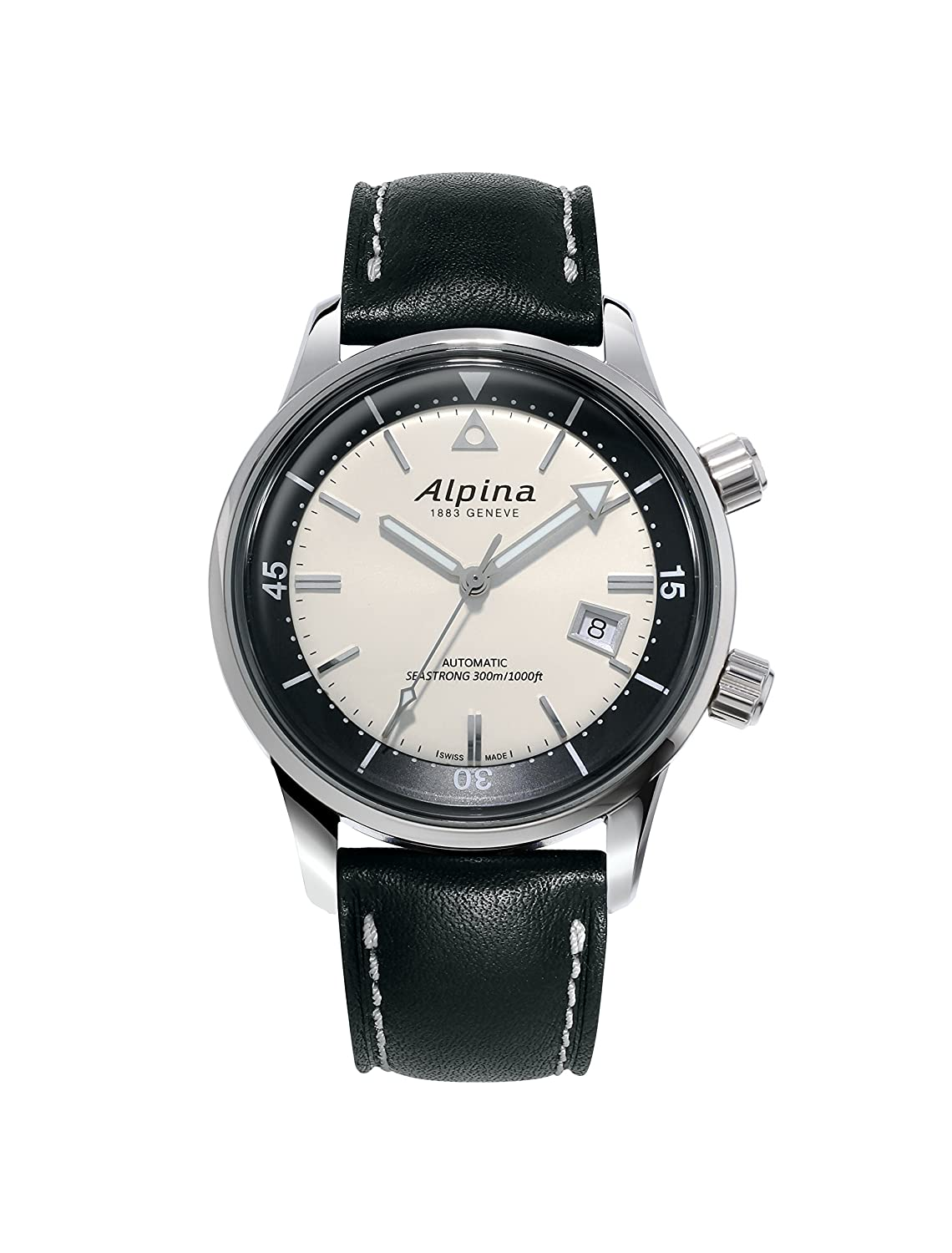 Alpina Men's 'Seastrong Diver Hertiage' Automatic Stainless Steel and Leather Casual Watch, Color:Black (Model: AL-525S4H6)
