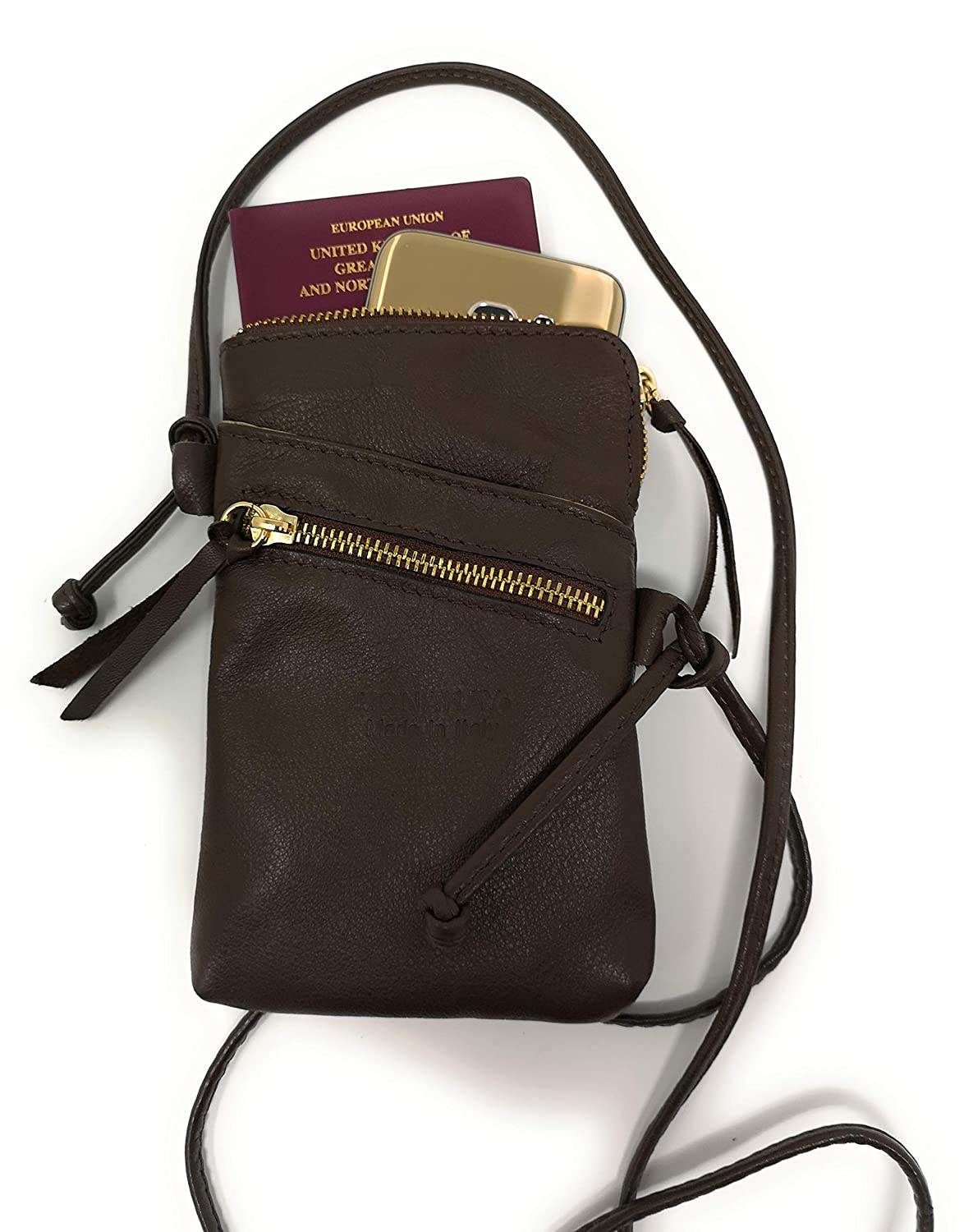 Monahay Small Italian Leather Cross Body Mobile Phone and Passport Travel Pouch Bag MH9723