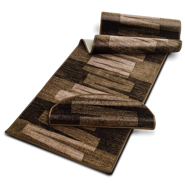 Stufenmatten mit Pinselstrich Muster   Braun   Qualitätsprodukt aus Deutschland   GUT Siegel   kombinierbar mit Läufer   65x23,5 cm   halbrund   15er Set