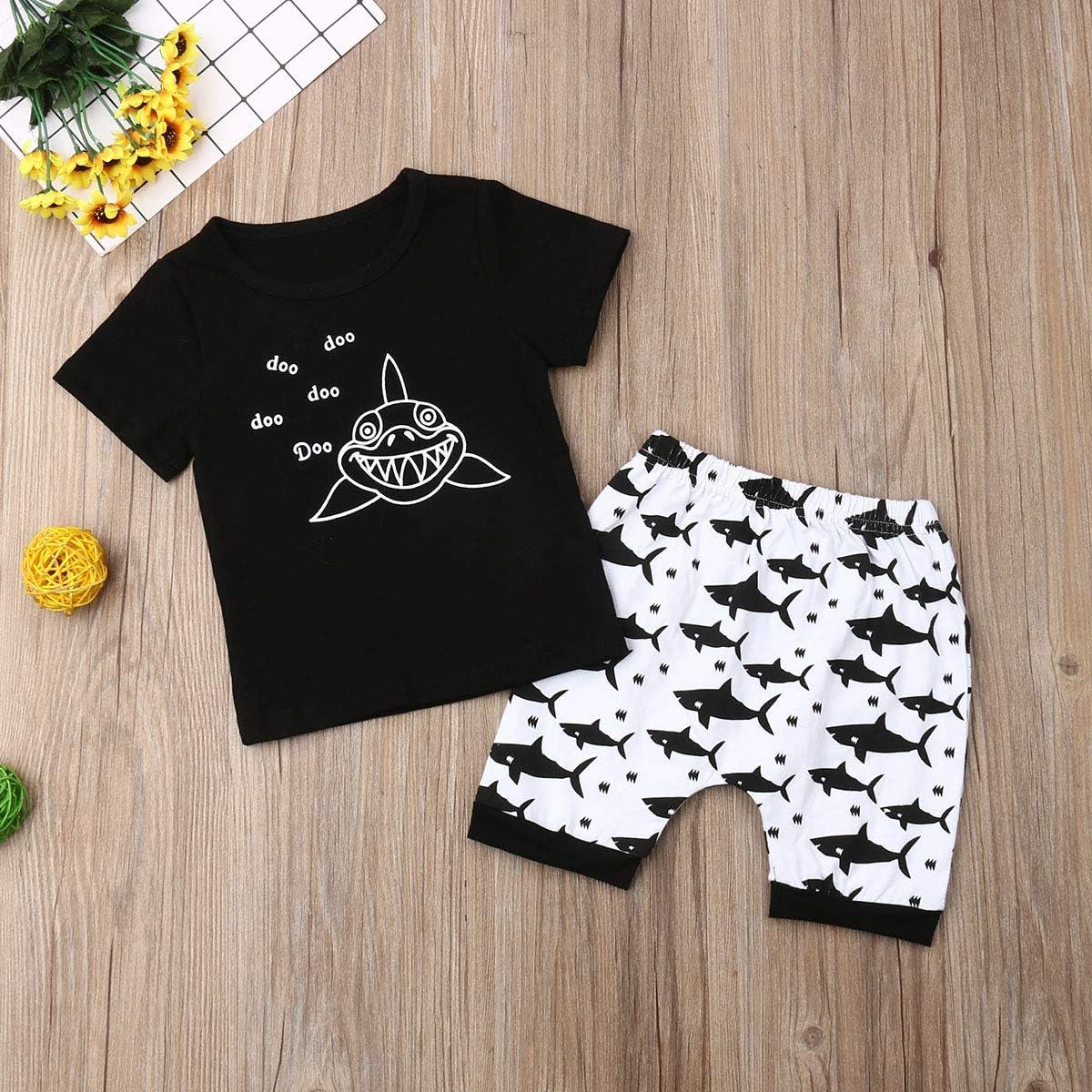 Summer Newborn Kids Clothing Baby Boys Cute Shark Vest Tank Top+Short Pants Trousers 2Pcs Outfits Clothes Set