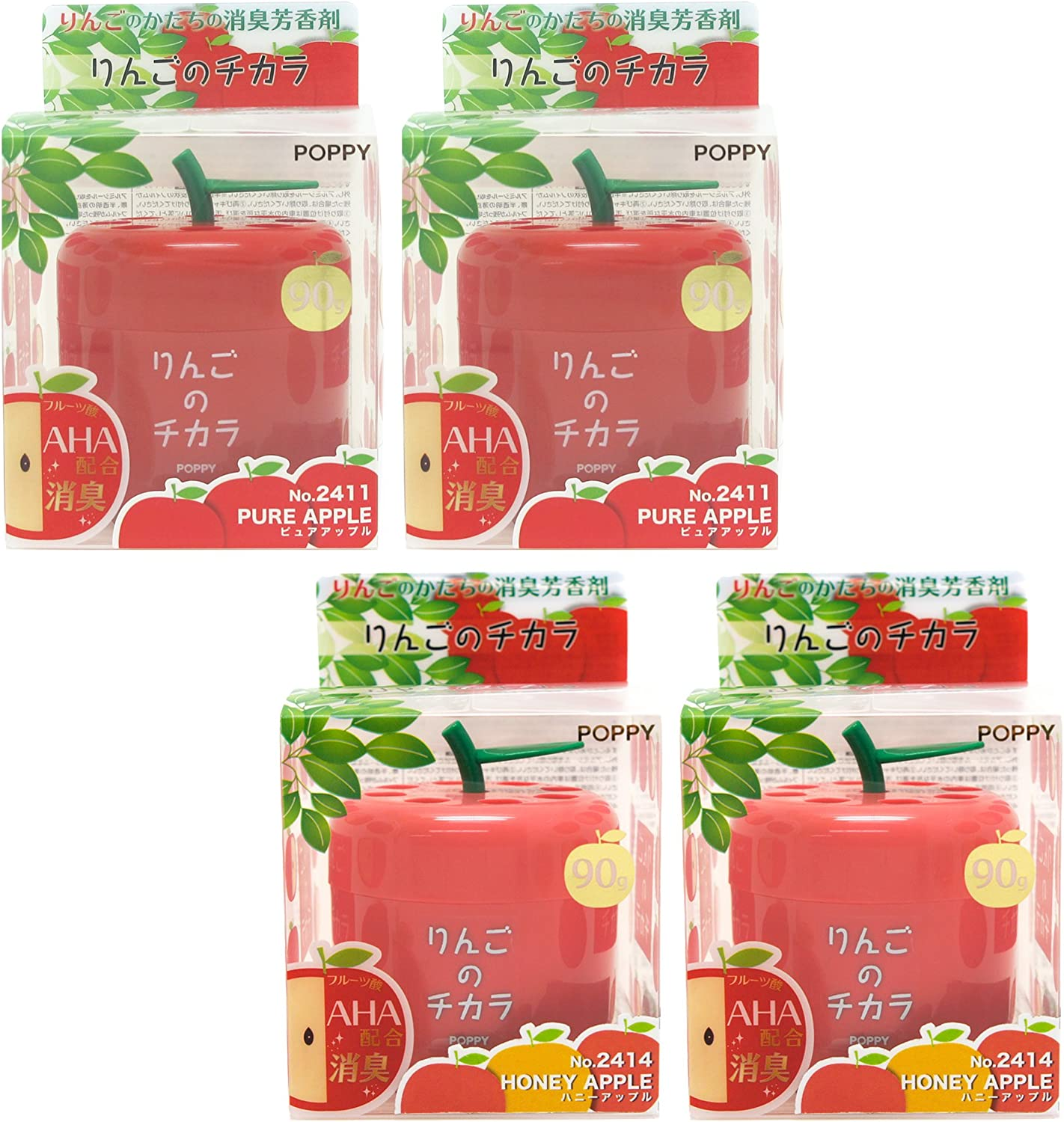 Super Apple car air freshener, Mixed 4 packs, 2X Pure Apple and 2X Honey Apple scent in cute Apple shape container, best JDM Japan Car, Home, Office Air Freshener