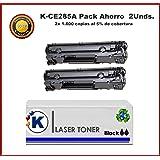 KONVER Pack 2 Unidades Toner Compatible con K285A, K85A - Sustituye CE285A, 85A Producto No Original (Negro) para impresoras LaserJet PRO M1132mfp, M1212nf, P1100, P1102, P1102w