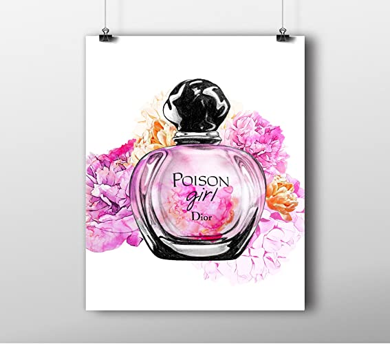 00added181a5 Image Unavailable. Image not available for. Color  Fashion wall art print -  Illustration - Miss Dior Perfume Bottle WaterColor Chic Glam ...