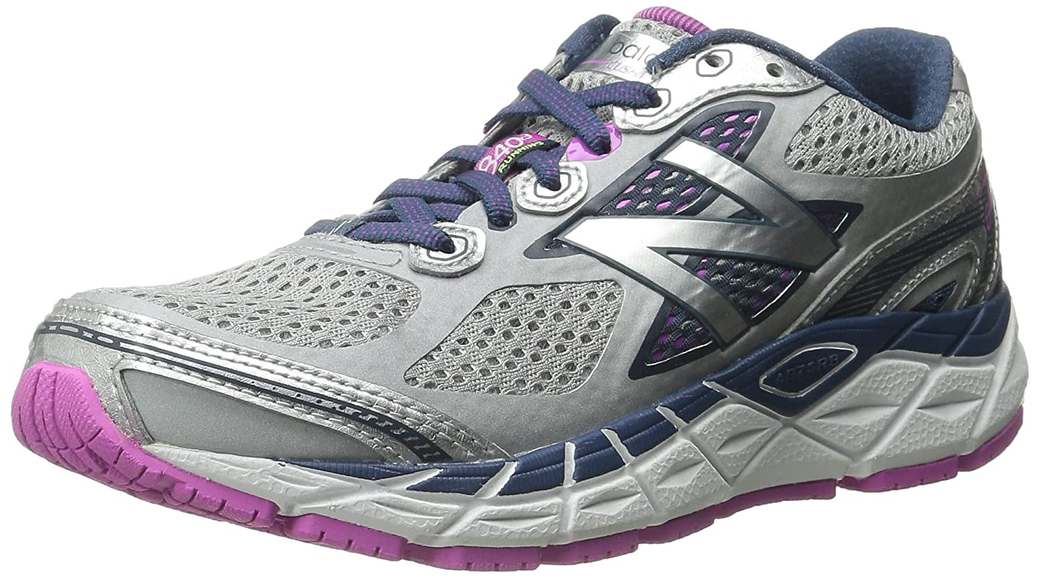New Balance Women's W840V3 Running Shoe B00V3NBKPC 5.5 D US|Silver/Navy