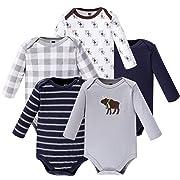 Hudson Baby Unisex Baby Long Sleeve Cotton Bodysuits, Boy Moose Long Sleeve 5 Pack, 3-6 Months (6M)