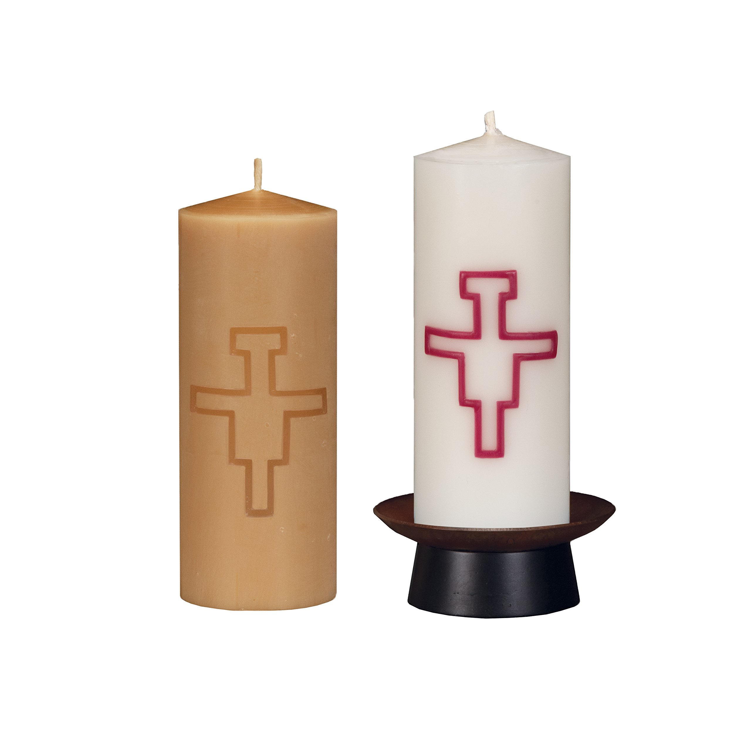 Beeswax Christos™ Candle Set; 2-1/2'' x 6'' candles with base; Assisi™ design in burgundy. Handcrafted in New England. Made in America. by Marklin Candle
