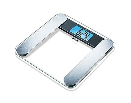 Beurer BF 220 - Báscula de baño diagnóstica de vidrio transparente, memoria para 10 usuarios