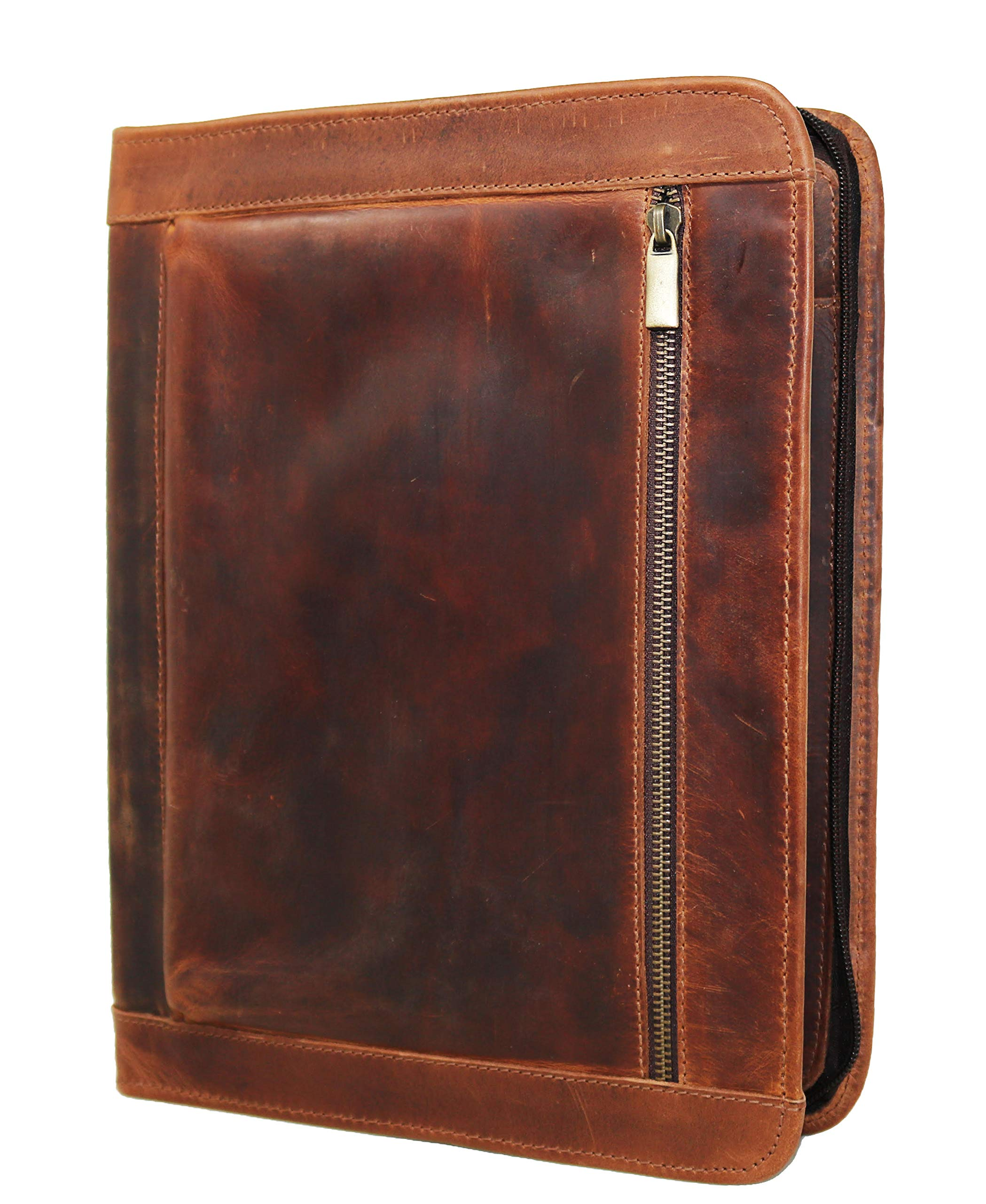 Handmade Genuine Leather Business Portfolio by Jaald | Professional Organizer Men & Women | Durable Leather Padfolio with Sleeves for documents & Notepad Compatible with Ipad pro 12.9''