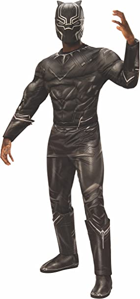 Rubies Mens Captain America: Civil War Deluxe Muscle Chest Black Panther Costume