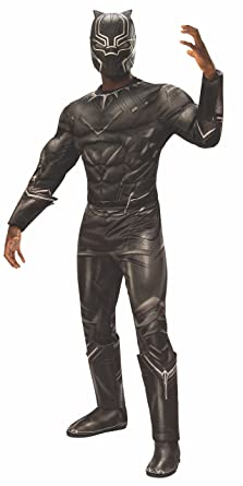 Rubies Mens Captain America: Civil War Deluxe Muscle Chest Black Panther Costume, Standard